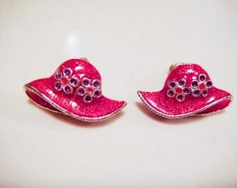 Vintage RED HAT Society Enameled Earrings pierced