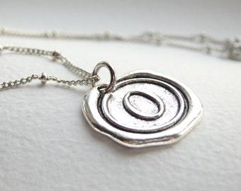Antique Silver Wax Seal - O - Monogram Necklace