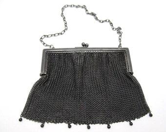 Antique Silver Gunmetal Metal Mesh Chain Purse Handbag