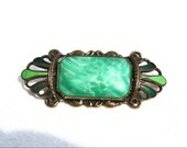 Green Czech Peking Glass n Enamel Art Deco Vintage Brooch