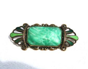Green Czech Peking Glass n Enamel Art Deco Vintage Brooch