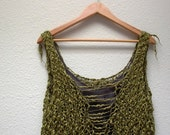 jungle gypsy. handknit sweater vest tank bodice camisole . organic cotton . bohemian apocalypse sustainable knit fashion . moss olive green