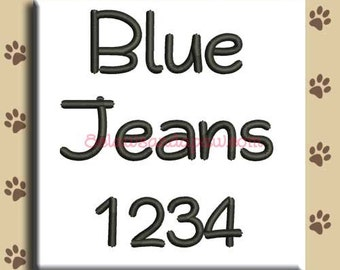 Blue Jeans Embroidery Font Includes 6 Sizes