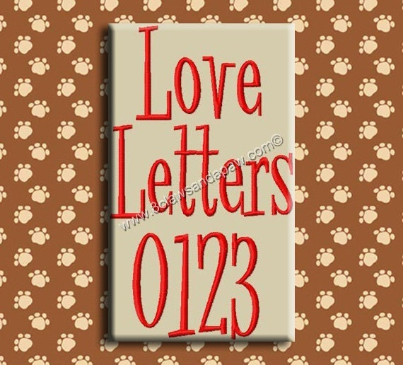 Love Letters Embroidery Font 3 Sizes