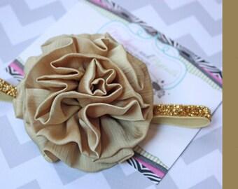 baby Christmas headband { Gold Rush } Glitter elastic headband newborn baby girl, fancy headband, wedding Photography Prop
