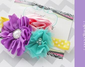 Easter baby Headband { Spring Fever } yellow, aqua, pink purple, birthday, spring, summer, pastel rainbow baby photography prop