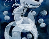 Jellyfish Mermaid - 11x14 print