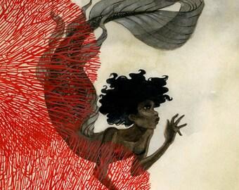 Coral Mermaid - 11x14 print