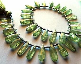 Kyanite Gemstone. Semi Precious Gemstone Bead. Faceted, Green Kyanite Pear Briolette. 11-14mm.  Your Choice (kky4))