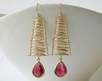 Ruby Garnet Crystal Drop Earrings, January Birthstone Jewelry, Geometric