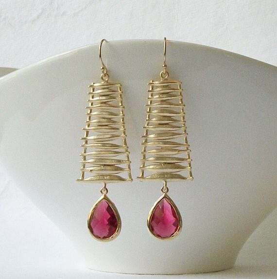 Ruby Garnet Crystal Drop Earrings, Birthstone Jewelry