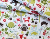Monaluna, Organic Cotton Fabric, Wonderland , Blue, Fox Hollow , half-yard