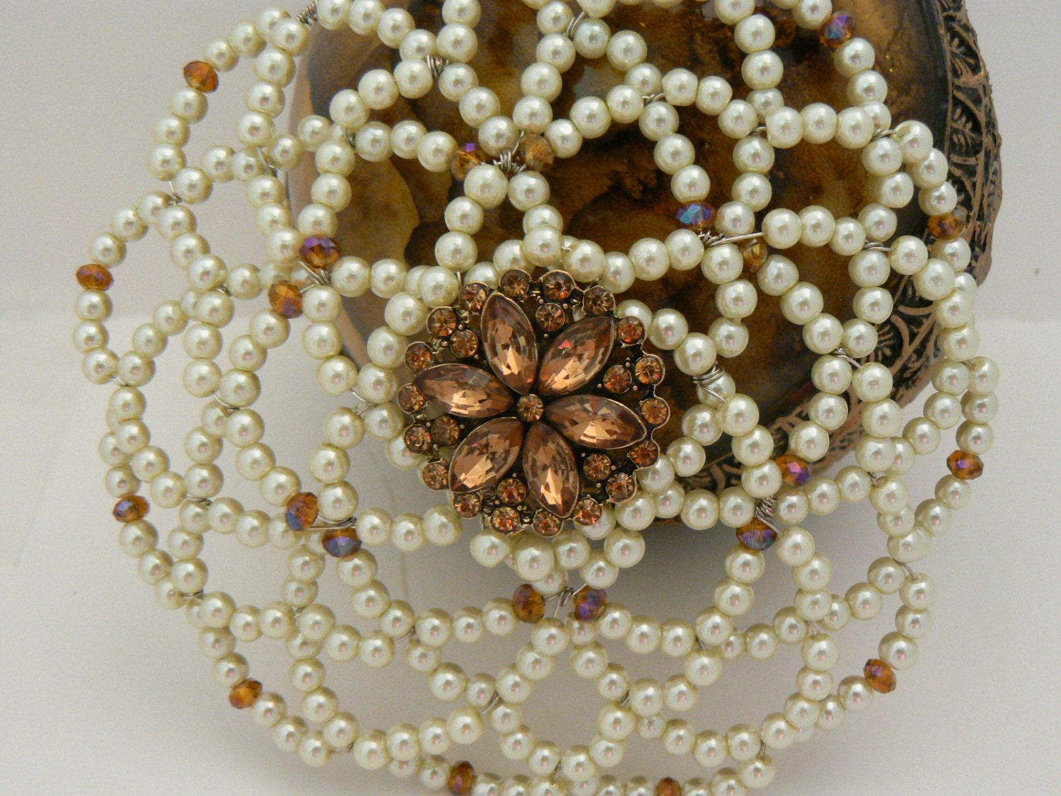 gorgeous and sparkly beaded kippah features shades of