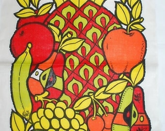 Vintage Georges Briard Fruit Themed Kitchen Towel