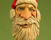 Hand Carved Wood Old World Santa Christmas Holiday Ornament