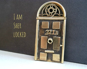 "Sherlock 221b Door Pendant - SHERLOCK ""221B Door"" Necklace - Sherlock Door Handmade Metalwork Jewelry - 221B Door Necklace"