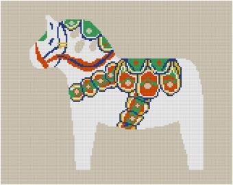 Cross stitch pattern DALA HORSE - white,Scandinavian,cross stitch,needlepoint,embroidery,diy,burlap,burlap pillow,hessian,folk art,Anette E