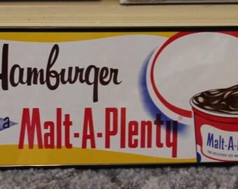 VINTAGE Hambuger Malt A Plenty Poster NOS Ottawa Kansas