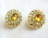 Vintage Golden Topaz and Citrine Rhinestones Earrings