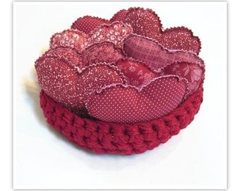 8 Burgandy Fabric Hearts, Fabric bowl fillers WITH hand-crocheted bowl