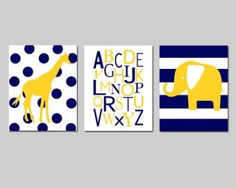Yellow and Navy Nursery Wall Art Elephant Giraffe Alphabet Nursery Art for Boy Nursery Decor - Set of 3 Prints - CHOOSE YOUR COLORS