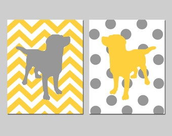 Labrador Puppy Dog Nursery Art Duo - Set of Two 8x10 Chevron Zig Zag Polka Dot Stripe Prints - CHOOSE YOUR COLORS - Shown in Gray, Yellow