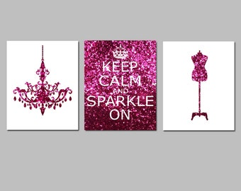 Glitter Pink Keep Calm and Sparkle On, Chandelier, Dress Form Mannequin Trio - Set of Three 8x10 Prints