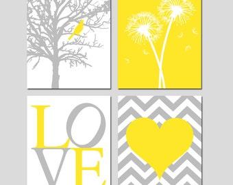 Yellow Grey Gray Nursery Art Quad - Bird in a Tree, Dandelions, Love, Chevron Heart - Set of Four 11x14 Prints - CHOOSE YOUR COLORS