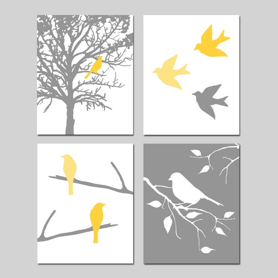 Modern Bird Nursery Art Quad - Set of Four 8x10 Coordinating Prints - CHOOSE YOUR COLORS - Shown in Yellow, Gray, Pink, Red, Green, and More