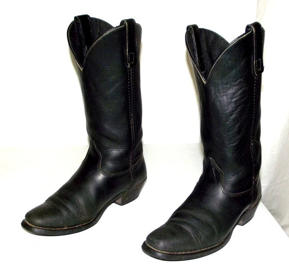 womens black leather cowboy boots size 6 m western country