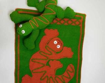 Larry The Lizard Pillow & Throw Crochet Pattern - PDF