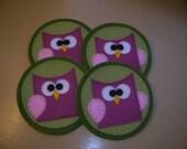 Handmade Felt Owl Coasters