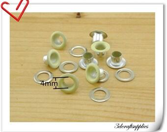 4mm Light yellow Eyelet  grommet  Grommets eyelets 100 sets AC72N