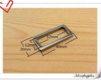 1.25 (1 1/4) inch (inner diameter) Gunmetal rectangle alloy buckles 10pcs 3mm thickness U16
