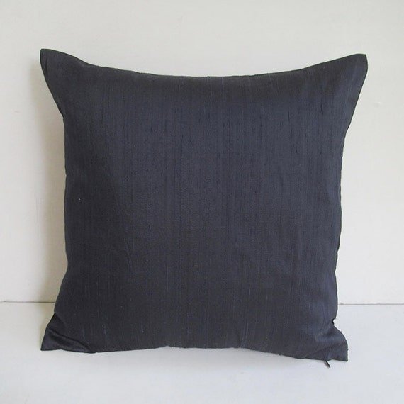 navy blue silk pillow cover 18 inch cushion cover IN STOCK