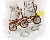 Custom Grey Owls on a Tandem Bike (reserved for Heather Iloveitcrafts)