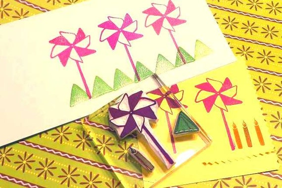 Pinwheel, Garland and Candle Rubber Stamp Set, Vintage Style, Summertime Stamps, Large Birthday Party Stamp, Fun Hand Carved Rubber Stamps