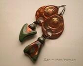 ZEN Man/Woman Copper and Porcelain Earrings