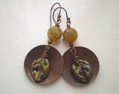 Copper, Lampwork and Agate Earrings