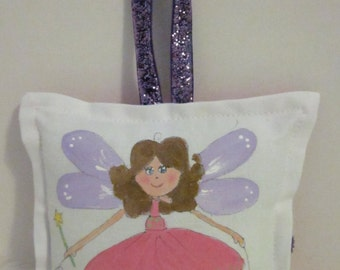 Tooth Fairy Pillow - Girl Fairy, brown hair  - Hand Painted -  Personalized Name FREE