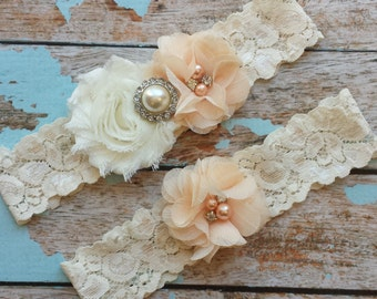 PEACH flower  / IVORY  chiffon / wedding garter set / bridal  garter/  lace garter / toss garter included /  wedding garter