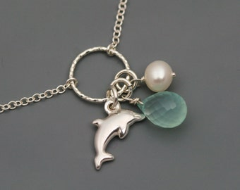 Ocean Necklace in Sterling Silver - Sea Necklace - Beach Necklace - Chalcedony, Doplhin, Pearl