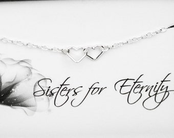 Sisters Necklace - Two Tiny Linked Heart Sterling Silver Necklace - Necklace with a Message Card - Sisters for Eternity