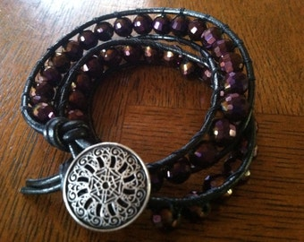 Metallic Midnight Amethyst Purple Double Wrap Bracelet with Silver Button