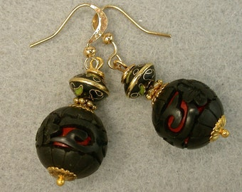 Vintage Chinese Cinnabar Bead Black Red Dangle Drop Earrings, Vintage 1970s Chinese Black Abacus Cloisonne ,Gold Ear Wires - GIFT WRAPPED