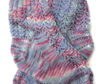 Socks - Hand Knit Women's Pink, Blue and Purple Short Lace Socks - Size 7-9