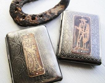 Gaucho  or Gringo Etched Metal Wallet / Cigarette Case -- Acid Bath Series