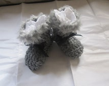 Baby Uggs Grey Faux Fur Trimmed  Hi Top Winter Boot  Booties 0- 6months