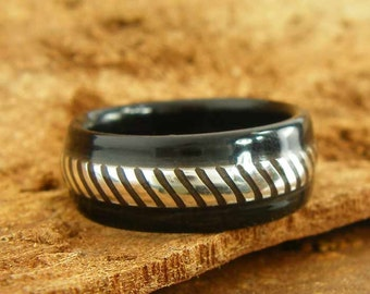 Bentwood Mens Ring Ebony with Patterned Sterling Silver inlay