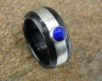 Bentwood Ring Ebony with Sterling Silver inlay and 5mm Lapis Lazuli stone
